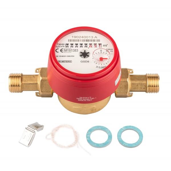 """Warmwasserzähler 1/2"""" x 80 mm 90° Grad mit Verschraubung und Dichtungsset, Q3 = 2,5"""