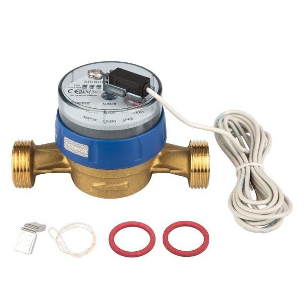 Kaltwasserzähler Q3 = 4 aktuelle Eichung, 1 AG / BL 130 mm mit Impulsausgang 1 Liter Eichung 2021