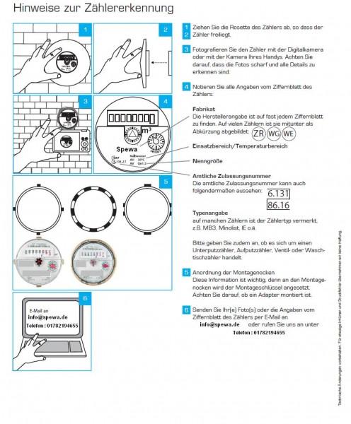 Aufmaßblatt für Messkapsel Unterputzmontage