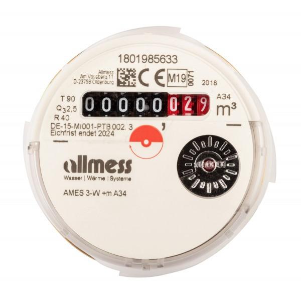 Allmess Messkapsel Warmwasser AMES-3-W / Up 6000 MID Q3 = 2,5 für inc. Konformitätsentgelt