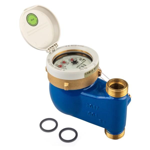 Wasserzähler Q3 = 4 (DN20) für Steigrohr - Montage 1 Zoll AG / 3/4 Durchfluss von Zenner