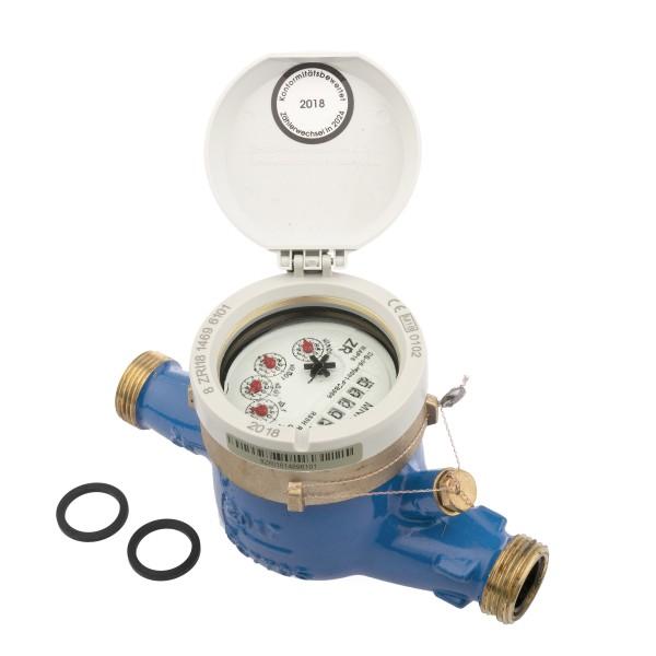 Zenner Wasserzähler Q3 = 4 (DN20) für waagerechte Montage 1 Zoll AG / 3/4 Zoll Durchfluss