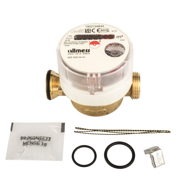 Einstrahl-Wohnungswasserzähler Warmwasser für UP3003, Allmess AZE 3003 K +m