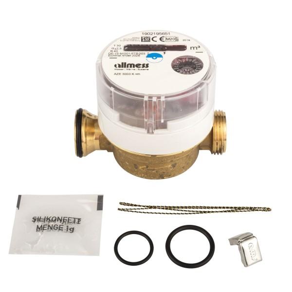 Einstrahl-Wohnungswasserzähler Kaltwasser für UP3003, Allmess AZE 3003 K +m
