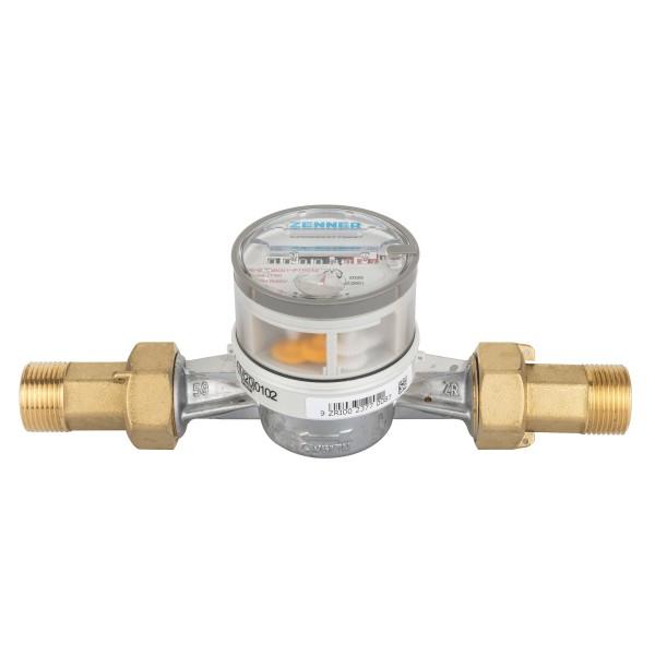 """Warmwasserzähler 3/4"""" x 130 mm 90° Grad mit Verschraubung und Dichtungsset"""