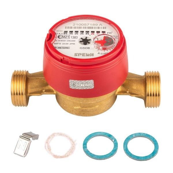Wasserzähler Q3 = 4 Warmwasser, BL 130 mm 1 AG / Durchfluss 3/4 Zoll Eichung 2021
