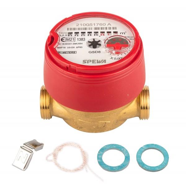 Wasserzähler Q3 = 2,5 Warmwasser, BL 80 mm 3/4 AG / Durchfluss 1/2 Zoll Eichung 2021