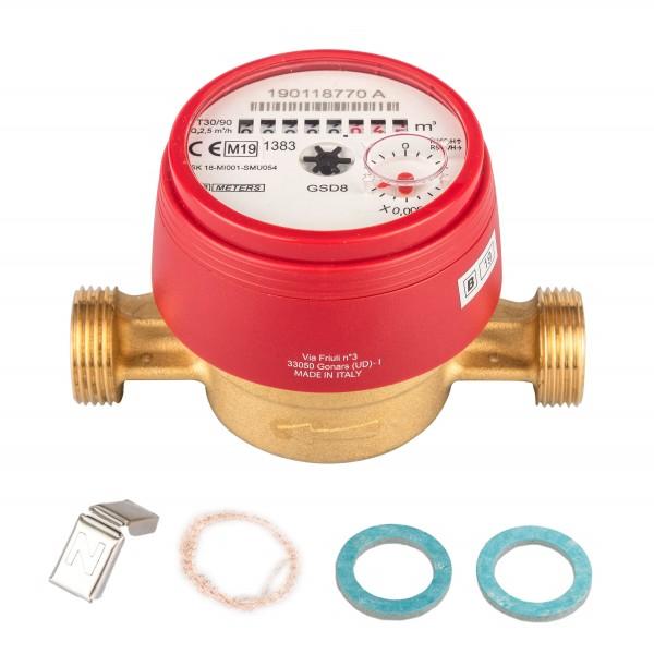 Wasserzähler Q3 = 2,5 ( Alt QN 1,5 ) Warmwasser, BL 110 mm 3/4 AG / Durchfluss 1/2 Zoll Ratio 100