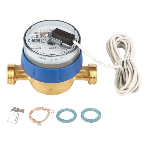 Kaltwasserzähler Q3 = 2,5 Eichung 2020 3/4 AG - BL 110 mm mit Impulsausgang 1 Liter GSD 8
