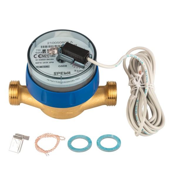 Kaltwasserzähler Q3 = 2,5 Eichung 2021 3/4 AG - BL 110 mm mit Impulsausgang 1 Liter Eichung 2021