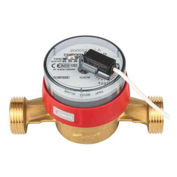 Warmwasserzähler Q3 = 4 ( Alt QN 2,5 ) 1 AG / BL 130 mm mit Impulsausgang 1 Liter Eichung 2020