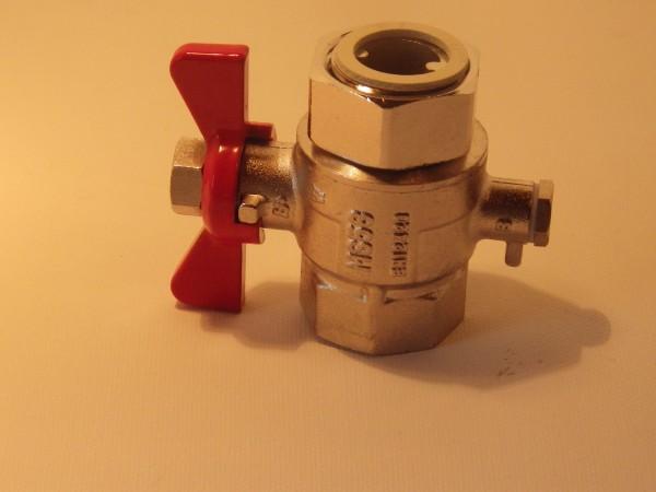 Kugelhahn 1 Überwurf x 1 Zoll IG mit Tauchfühleranschluss