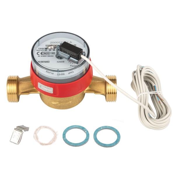 Warmwasserzähler Q3 = 4 ( Alt QN 2,5 ) 1 AG / BL 130 mm mit Impulsausgang 1 Liter Eichung 2021