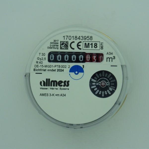 Allmess Messkapsel AMES-3-K / Up 6000 MID Q3 2,5 cbm Kaltwasser inkl. Konformitätsentgelt