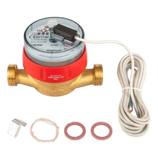 Warmwasserzähler Q3 = 2,5 ( Alt QN 1,5 ) 3/4 AG - BL 110 mm mit Impulsausgang 1 Liter Eichung 2021
