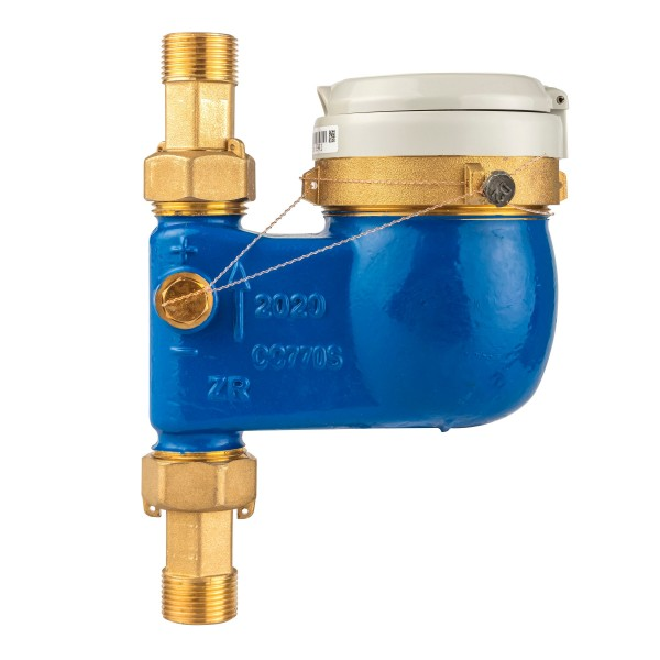 Zenner Wasserzähler senkrecht Q3 = 4 mit Verschraubung 3/4 Zoll