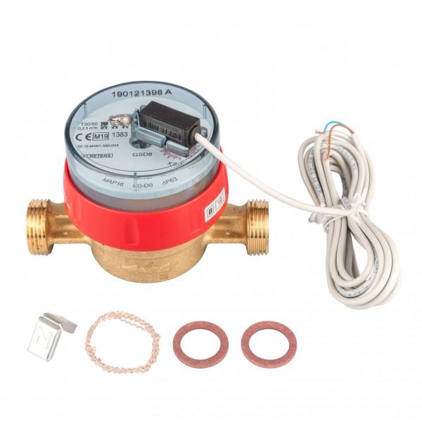 Warmwasserzähler Q3 = 2,5 ( Alt QN 1,5 ) 3/4 AG - BL 110 mm mit Impulsausgang 1 Liter GSD 8