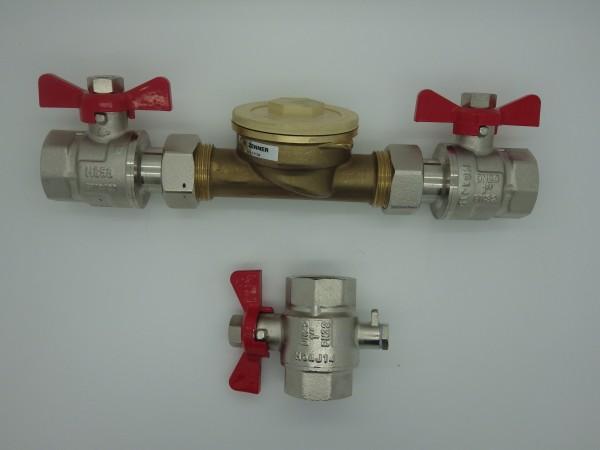 Wärmezählereinbauset 1 Zoll 130 mm / Messing zu QN 1,5 Komplett passend ISTA Anschluss
