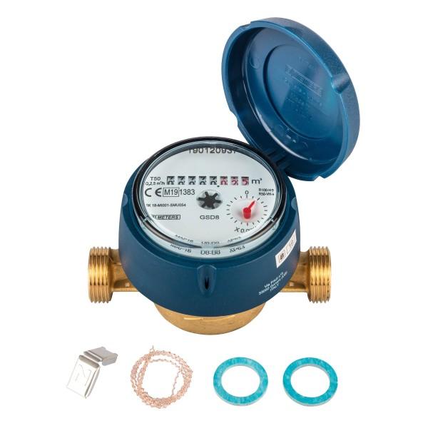 Frostgeschützter Zähler Q3 = 2,5 ( Alt QN 1,5 ) BL 110 mm - 3/4 AG - Ratio 100 mit UV Haube