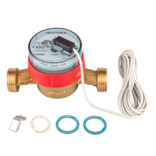 Warmwasserzähler Q3 = 4 ( Alt QN 2,5 ) 1 AG / BL 130 mm mit Impulsausgang 1 Liter GSD 8