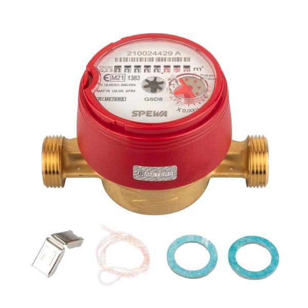 Wasserzähler Q3 = 2,5 ( Alt QN 1,5 ) Warmwasser, BL 110 mm 3/4 AG / Eichung 2021