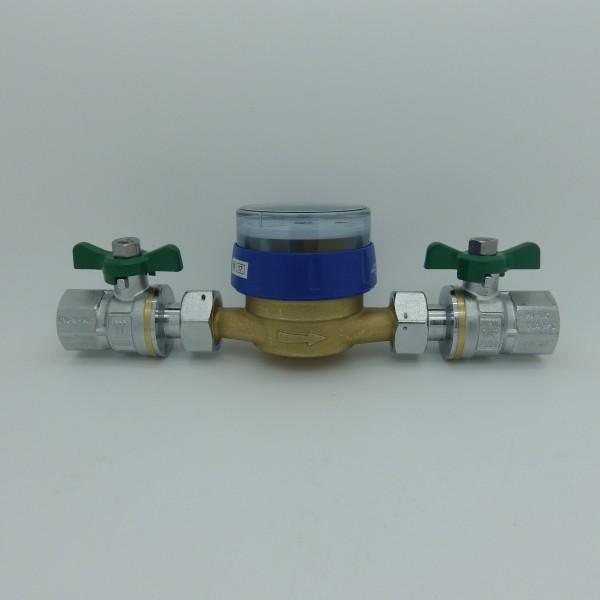 Wasserzähler Set Q3 = 2,5 ( Alt QN 1,5 ) Kaltwasser, BL 110 mm 3/4 mit Kugelhähnen