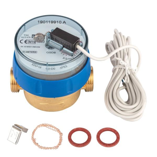 Kaltwasserzähler Q3 = 2,5 Eichung 2020, 3/4 AG - BL 80 mm mit Impulsausgang 1 Liter GSD 8