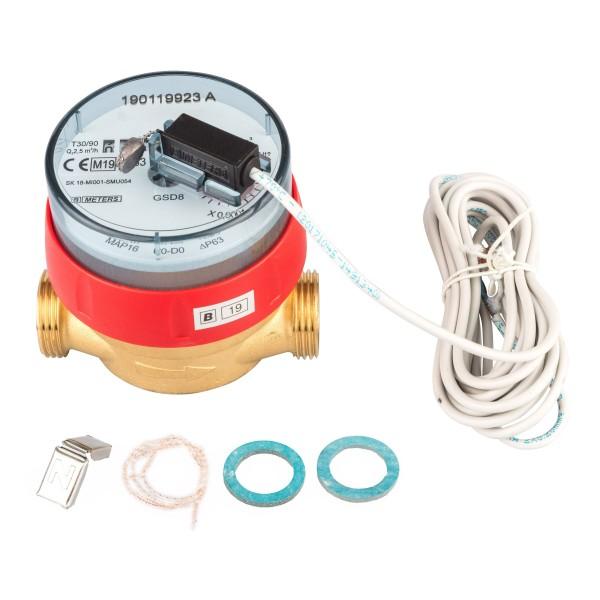 Warmwasserzähler Q3 = 2,5 ( Alt QN 1,5 ) 3/4 AG - BL 80 mm mit Impulsausgang 1 Liter GSD 8