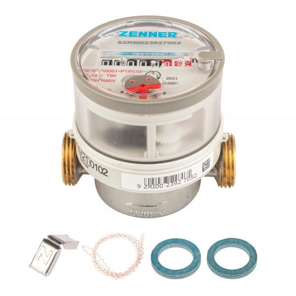 Wasserzähler Q3 = 2,5 Warmwasser, BL 80 mm / 3/4 Zoll Anschluss / Eichung 2021