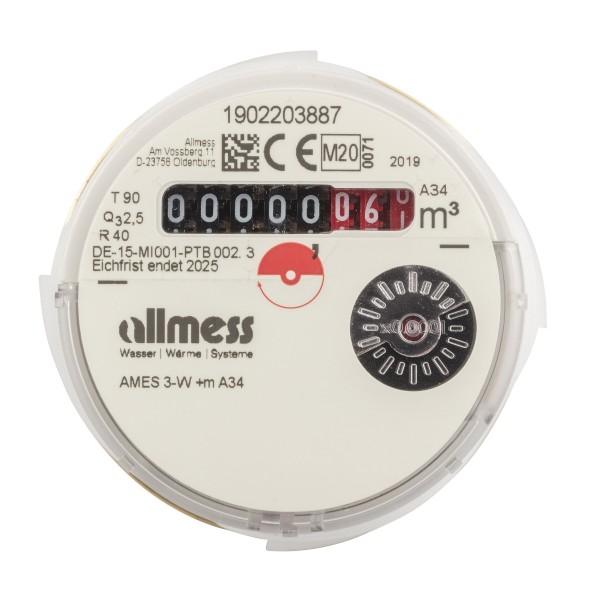 Allmess Messkapsel Warmwasser AMES-3-W / Up 6000 MID Q3 = 2,5 Eichung 2020