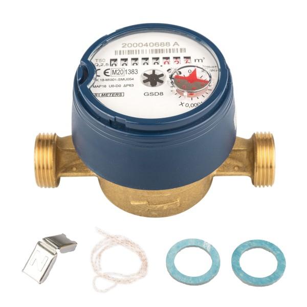 Wasserzähler Q3 = 2,5 ( Alt QN 1,5 ) Kaltwasser, BL 110 mm 3/4 AG / Durchfluss 1/2 Zoll Ratio 100
