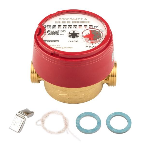 Wasserzähler Q3 = 2,5 ( Alt QN 1,5 ) Warmwasser, BL 80 mm 3/4 AG / Durchfluss 1/2 Zoll Ratio 100