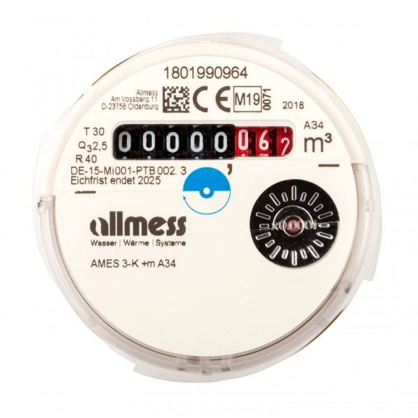 Allmess Messkapsel Kaltwasser AMES-3-K / Up 6000 MID Q3 = 2,5 für inkl. Konformitätsentgelt