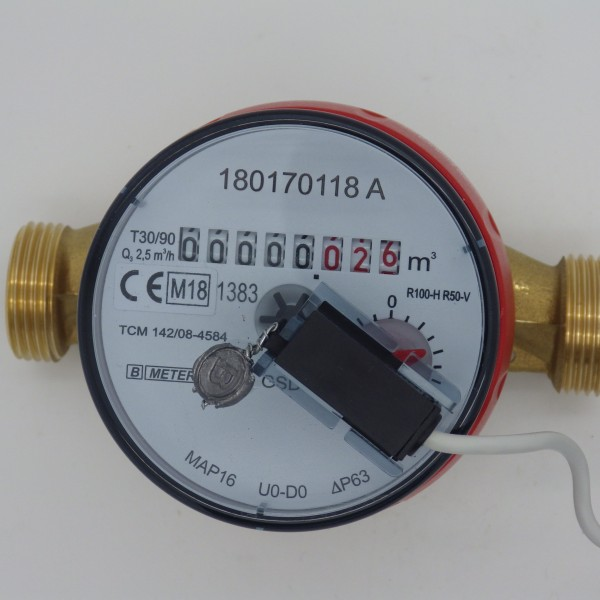 Warmwasser Wasserzähler Q3 = 2,5 Baulänge: 110 mm mit Impulsausgang 1 Liter GSD 8 von B Meters