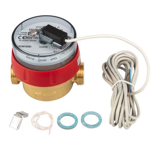 Warmwasserzähler Q3 = 2,5 ( Alt QN 1,5 ) 3/4 AG - BL 80 mm mit Impulsausgang 1 Liter Eichung 2020