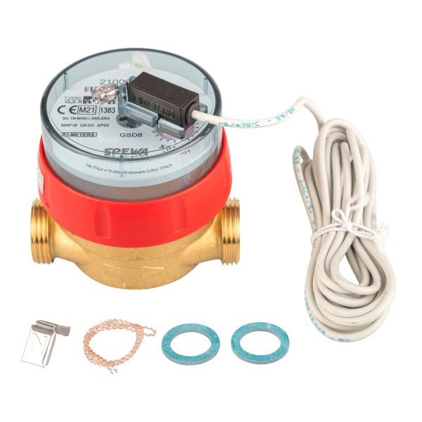 Warmwasserzähler Q3 = 2,5 ( Alt QN 1,5 ) 3/4 AG - BL 80 mm mit Impulsausgang 1 Liter Eichung 2021