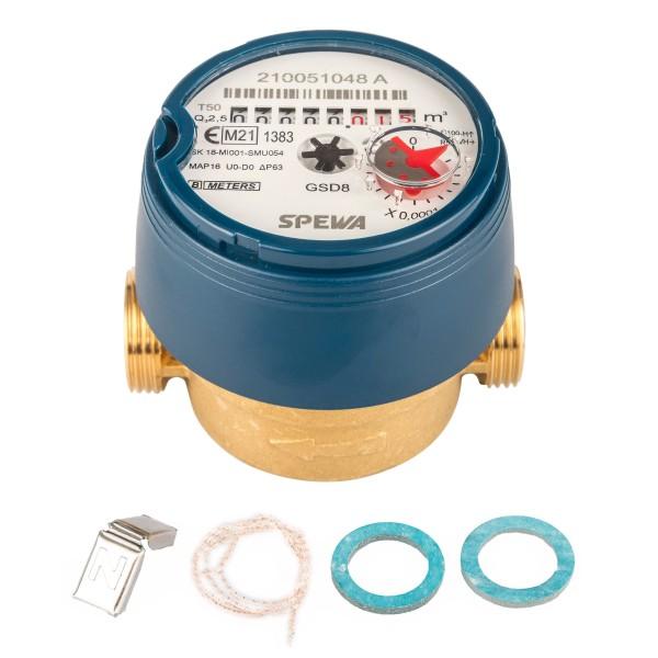 Wasserzähler Q3 = 2,5 ( Alt QN 1,5 ) Kaltwasser, BL 80 mm 3/4 AG / Eichung 2021