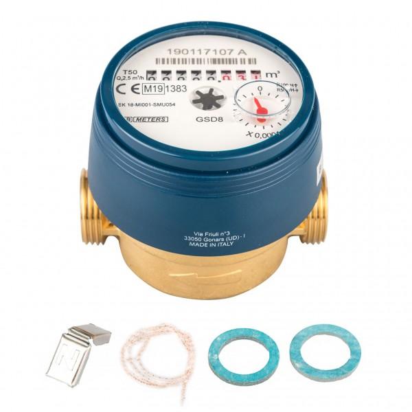 Wasserzähler Q3 = 2,5 ( Alt QN 1,5 ) Kaltwasser, BL 80 mm 3/4 AG / Durchfluss 1/2 Zoll Ratio 100