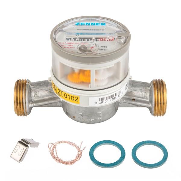 Warmwasserzähler Q3 = 4, BL 130 mm 3/4 Zoll Durchfluss / 1 Zoll Anschluss Eichung 2021