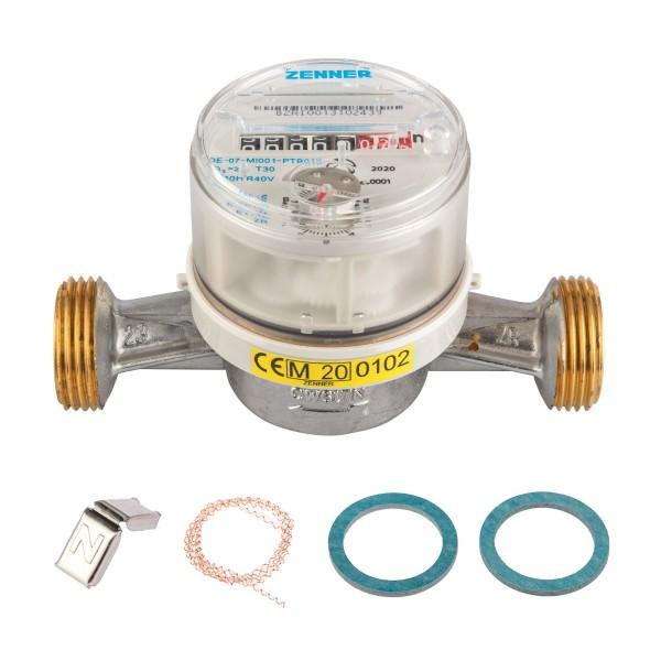 Wasserzähler für Kaltwasser, Q3 = 2,5, BL 130 mm 3/4 Zoll Durchfluss / 1 Zoll Anschluss