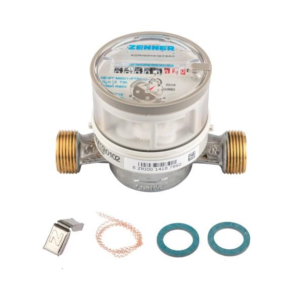 Wasserzähler von Zenner Q3 = 2,5 Kaltwasser, BL 110 mm 1/2 Zoll Durchfluss / 3/4 Zoll Anschluss