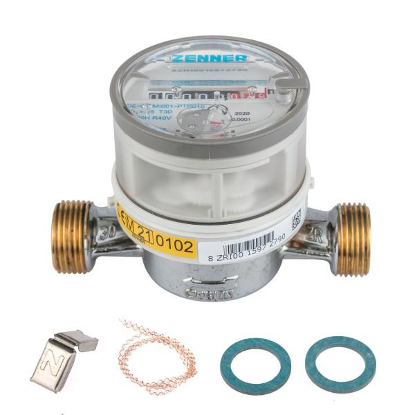Wasserzähler von Zenner Q3 = 2,5 Kaltwasser, BL 110 mm / 3/4 Zoll Anschluss / Eichung 2021