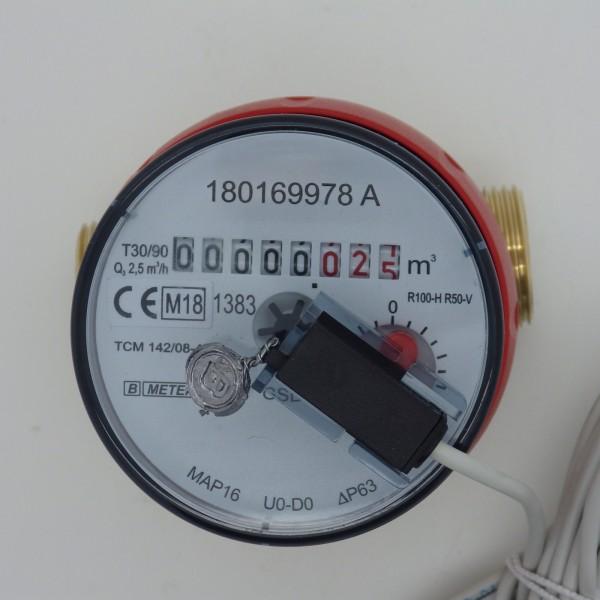 B Meter Wasserzähler QN 1,5 BL 80 mm mit Impulsausgang 1 Liter GSD 8 Warmwasser