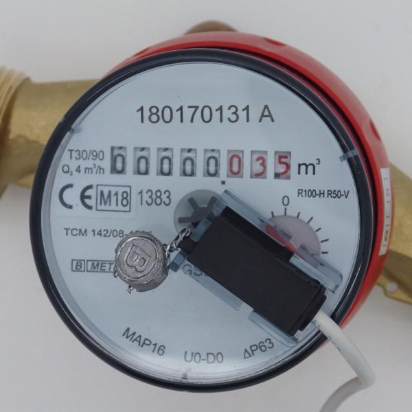 Wasserzähler Q3 = 4, BL 130 mm mit Impulsausgang 1 Liter GSD 8 Warmwasser von B Meters