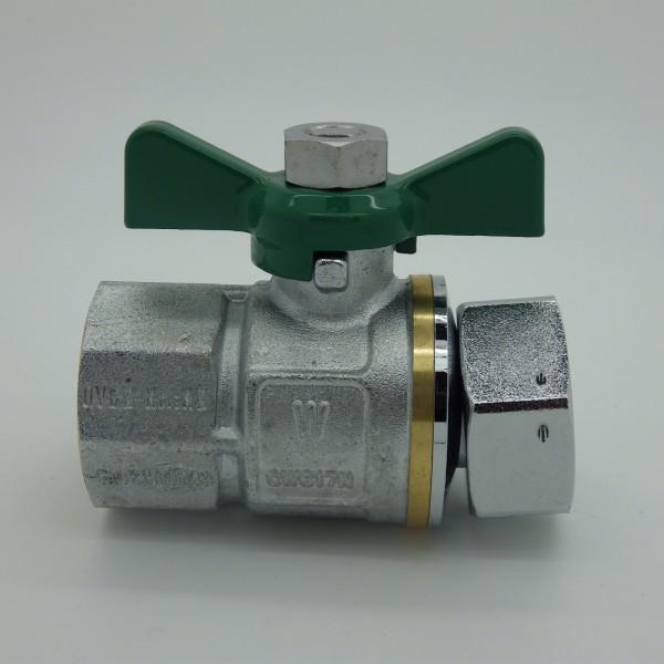 Trinkwasserkugelhahn 1 Rohranschluss Überwurf 1 Zoll