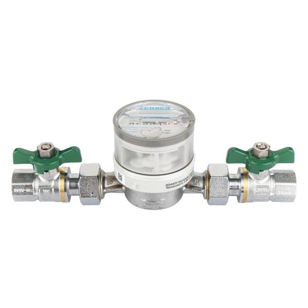 Wasserzähler Set Q3 = 2,5 Kaltwasser, BL 110 mm 1/2 mit Kugelhähnen