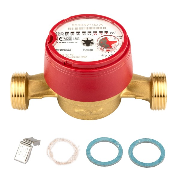 Wasserzähler Q3 = 4 ( Alt QN 2,5 ) Warmwasser, BL 130 mm 1 AG / Durchfluss 3/4 Zoll Ratio 100